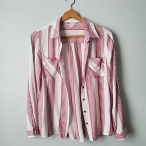 Pink Rose button down flowy top Small